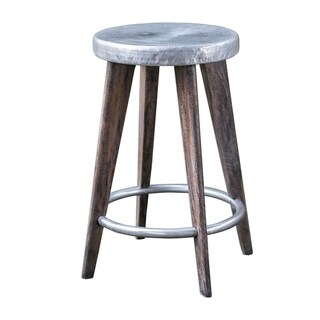 Uttermost Maxen Dark Grey and Aged Pewter Counter Stool