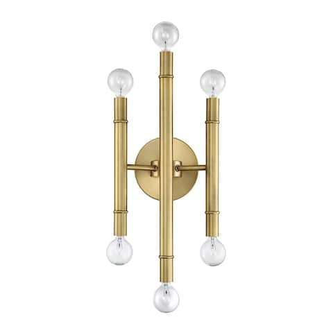 Carson Carrington Henningsvaer 6-light Natural Brass Wall Sconce