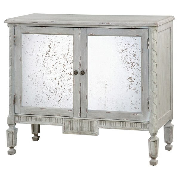 Uttermost Okorie Warm Blue and Grey Console Cabinet. Opens flyout.