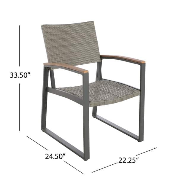 Wondrous Shop Leeds Outdoor 7 Piece Dining Set With Wood Top By Machost Co Dining Chair Design Ideas Machostcouk