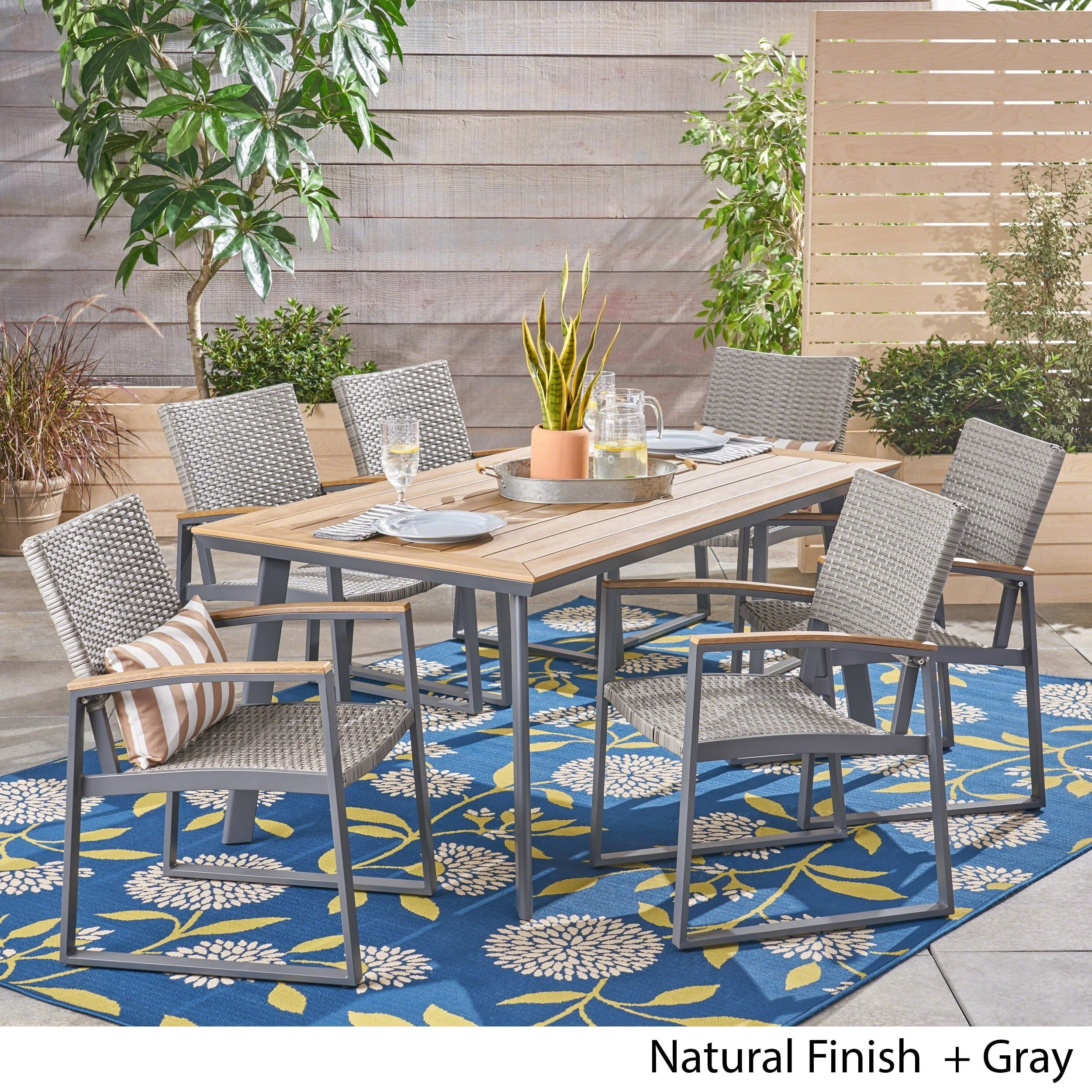 Wondrous Leeds Outdoor 7 Piece Dining Set With Wood Top By Christopher Knight Home Machost Co Dining Chair Design Ideas Machostcouk