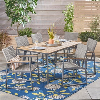 Leeds Outdoor 7 Piece Dining Set with Wood Top by Christopher Knight Home