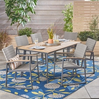 Leeds Outdoor 7 Piece Aluminum Dining Set with Wicker/ Mesh Chairs by Christopher Knight Home