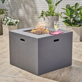 Aidan Outdoor 31-inch Square Propane Fire Pit Table w/ Tank Holder by Christopher Knight Home