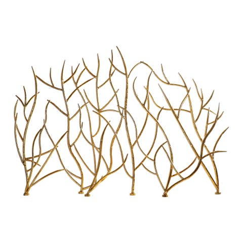 Uttermost Gold Branches Hammered Iron Fireplace Screen