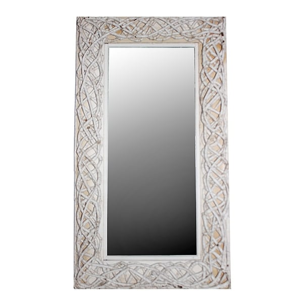Essential Decor Beyond White Rattan Framed Full Length Wall Mirror Free Shipping Today 22041793