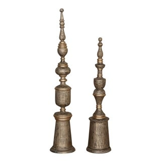 Uttermost Nalini Light Charcoal Stain Finials (Set of 2)