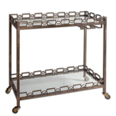 Uttermost Nicoline Brass Patina and Clear Iron Serving Cart