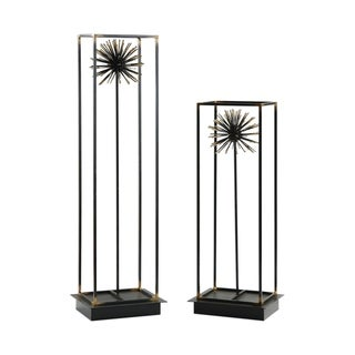 Uttermost Flowering Dandelions Aged Black Sculptures (Set of 2)