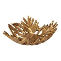 Uttermost Oak Leaf Antiqued Metallic Gold Bowl
