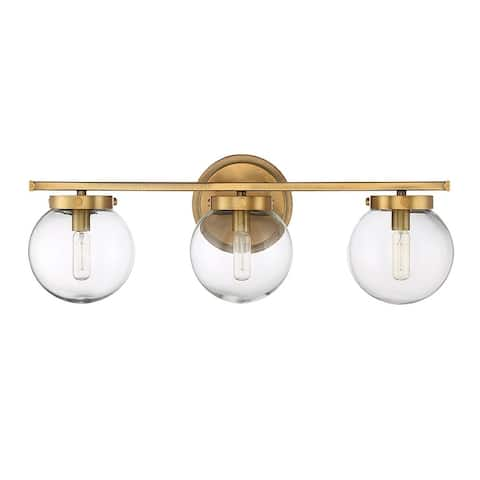 Carbon Loft Guillotin 3-light Bath Bar with Natural Brass