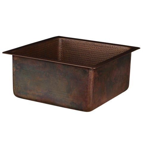 """Premier Copper Products BS16DB3 16"""" Square Hammered Bar/Prep Sink"""