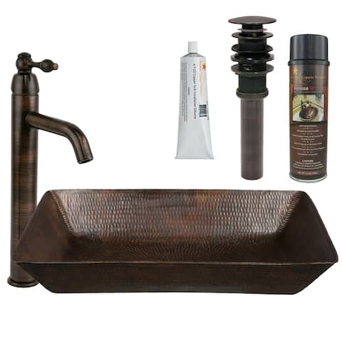 Premier Copper Products BSP1_VREC2014DB Vessel Sink, Faucet and Accessories Package