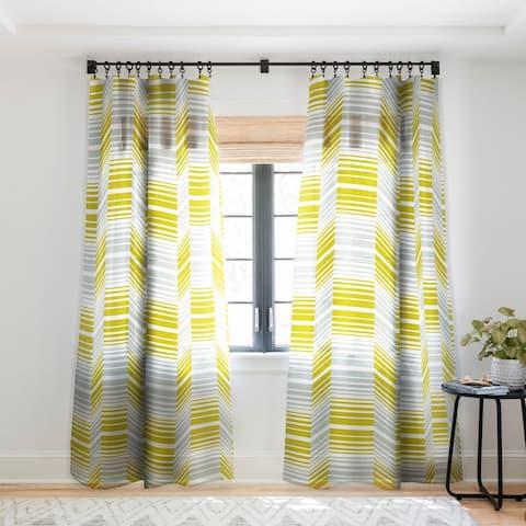 Heather Dutton Delineate Citron Single Panel Sheer Curtain - 50 X 84