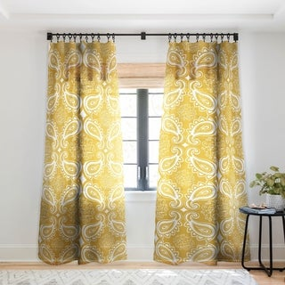 Heather Dutton Plush Paisley Goldenrod Single Panel Sheer Curtain