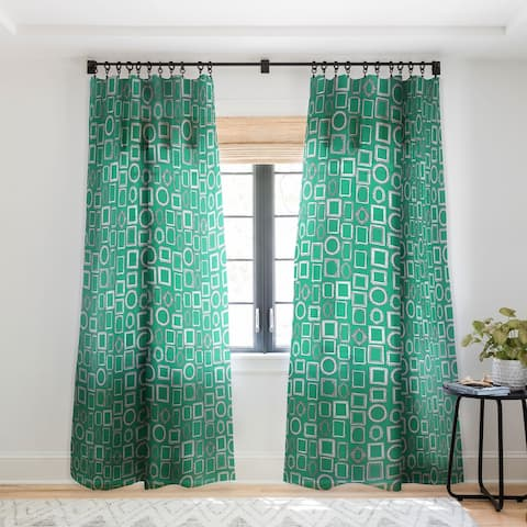Sharon Turner Picture Frames Green Single Panel Sheer Curtain - 50 X 84