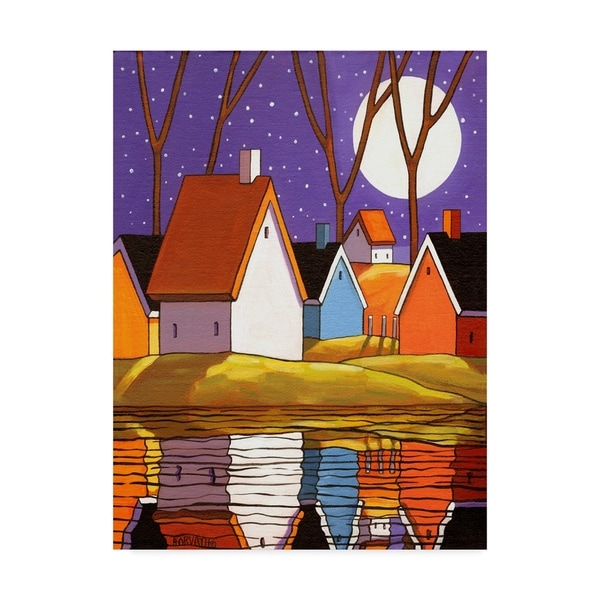 Cathy Horvath-Buchanan 'Purple Sky And Stars Cottages' Canvas Art 36722247