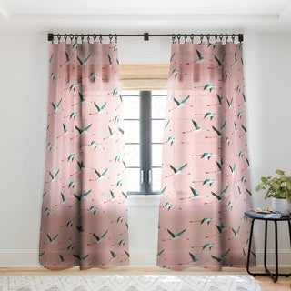 Holli Zollinger Flamingo Pink Single Panel Sheer Curtain - 50 X 84