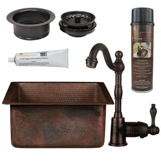 Premier Copper Products - BSP4_BS16DB3-G Bar/Prep Sink, Faucet and Accessories Package