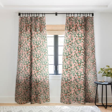 Sharon Turner Sarilmak Green Orange Single Panel Sheer Curtain - 50 X 84