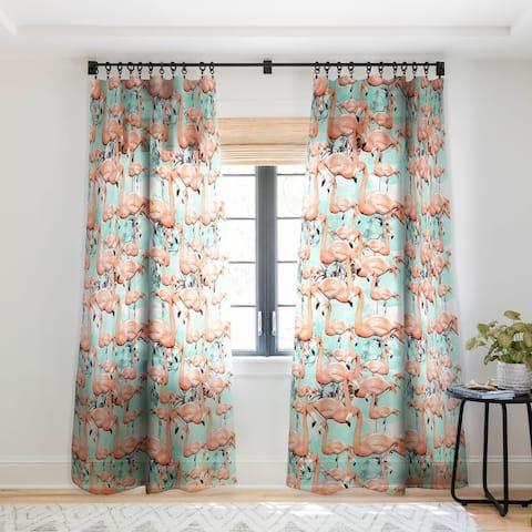Marta Barragan Camarasa Flourishing between flamingos Single Panel Sheer Curtain - 50 X 84