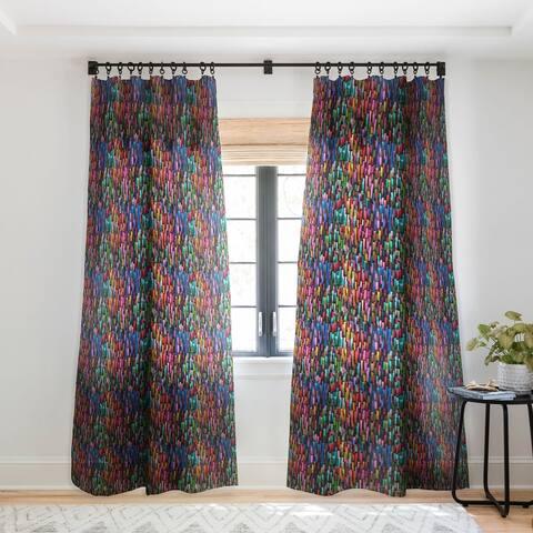 Ninola Design Modern colorful brushstrokes painting stripes Single Panel Sheer Curtain - 50 X 84