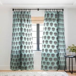 Andi Bird Sugar Skull Fun Aqua Single Panel Sheer Curtain - 50 X 84