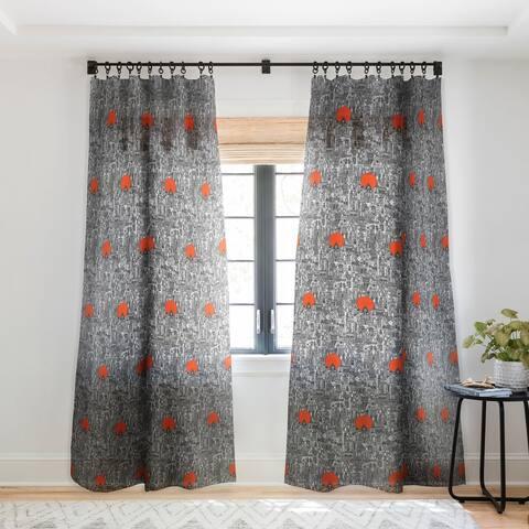 Sharon Turner Space City Red Sun Single Panel Sheer Curtain - 50 X 84