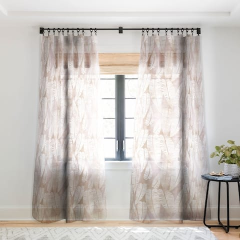 Schatzi Brown Island Goddess Leaf Creme Single Panel Sheer Curtain - 50 X 84