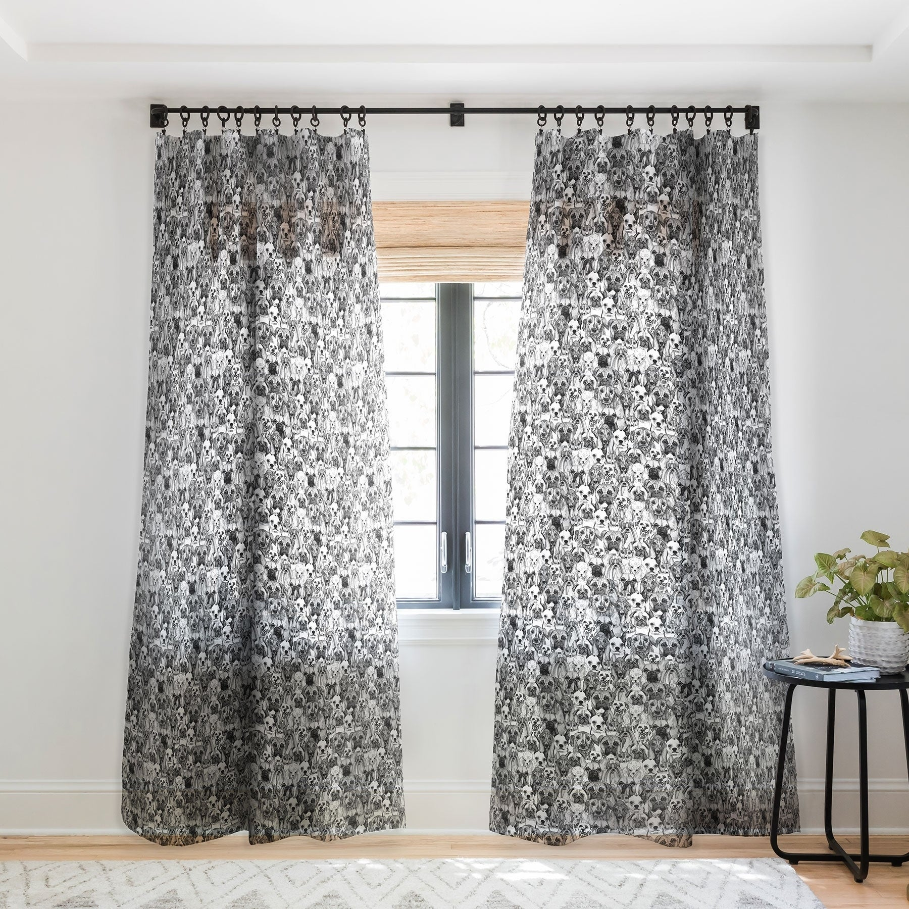 Just Dogs Single Panel Sheer Curtain
