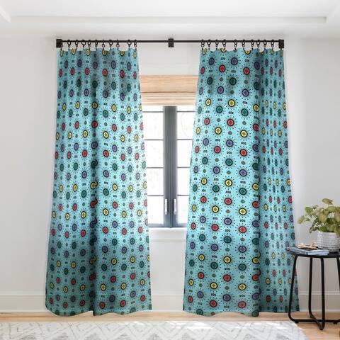 Andi Bird Retro Starlight Turquoise Single Panel Sheer Curtain - 50 X 84