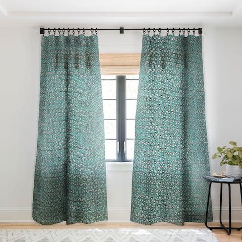 Sharon Turner Aziza Shakal Turquoise Single Panel Sheer Curtain - 50 X 84
