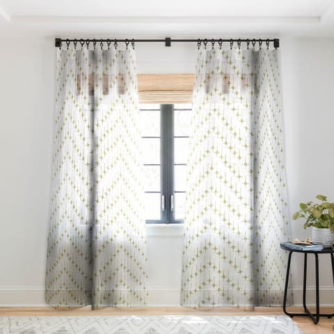 Schatzi Brown Justina Chevron Tan Single Panel Sheer Curtain - 50 X 84