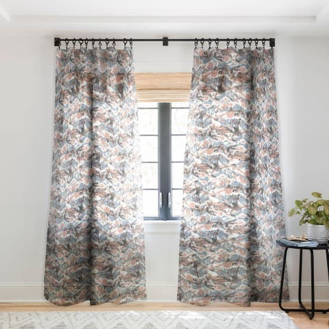 Jacqueline Maldonado Marble Mist Terra Cotta Blue Single Panel Sheer Curtain - 50 X 84