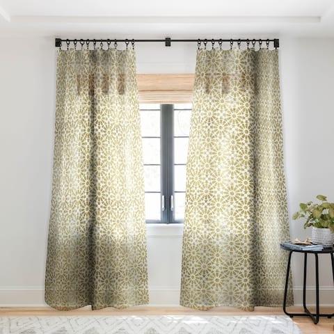 Schatzi Brown Hara Tiles Golden Single Panel Sheer Curtain - 50 X 84