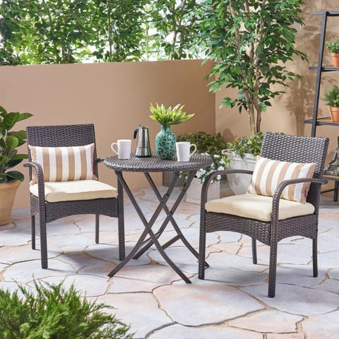 Hayden Outdoor 3 Piece Wicker Foldable Bistro Set by Christopher Knight Home