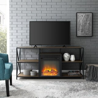 "60"" X-Frame Open Shelf Fireplace Console - 60 x 16 x 26h"