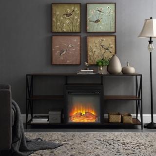 Carbon Loft 60-inch Geller Open Shelf Fireplace Grey TV Stand Console
