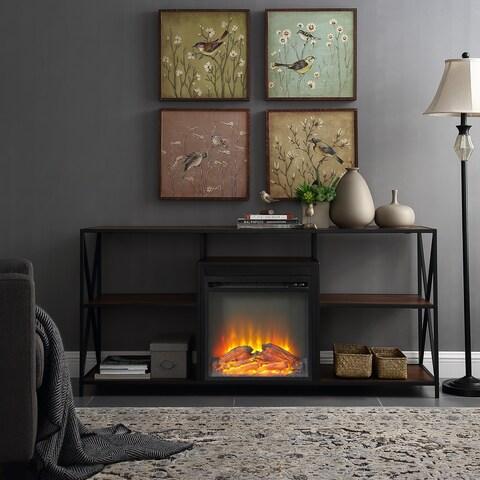 60 Inch Rustic Urban Industrial X-Frame Open Shelf Fireplace