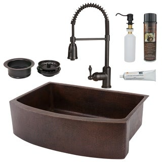 Premier Copper Products - KSP4_KASRDB30249 Kitchen Sink, Faucet and Accessories