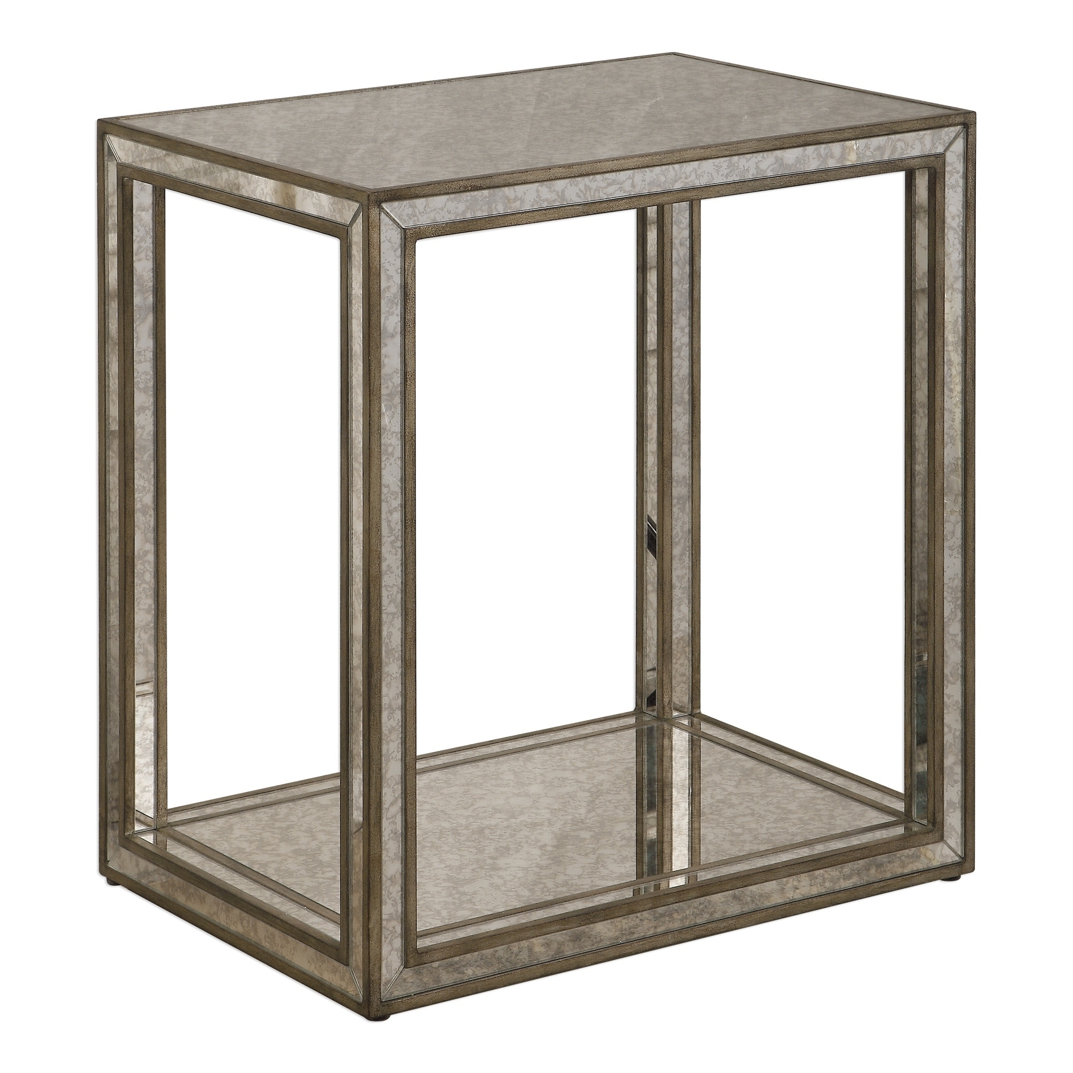 Shop Uttermost Julie Burnished Antique Gold Mirrored End Table Overstock 22042868