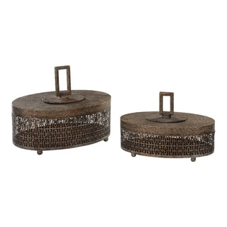 Uttermost Agnese Antiqued Gold Boxes (Set of 2)