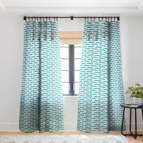 Andi Bird Gator Love Aqua Single Panel Sheer Curtain - 50 X 84