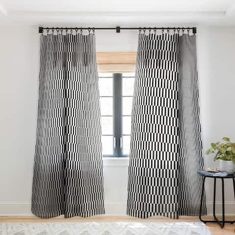 Bianca Green Black And White Order Single Panel Sheer Curtain - 50 X 84