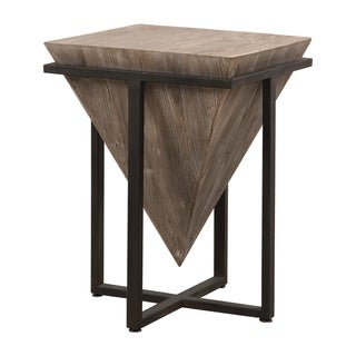 Uttermost Bertrand Aged Black and Grey Wash Wood Accent Table