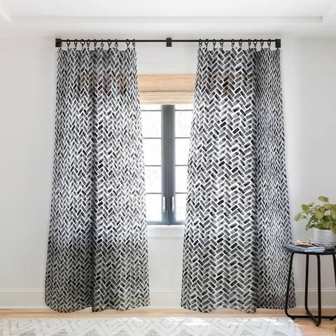 Little Arrow Design Co Arcadia Herringbone In Black Single Panel Sheer Curtain - 50 x 84