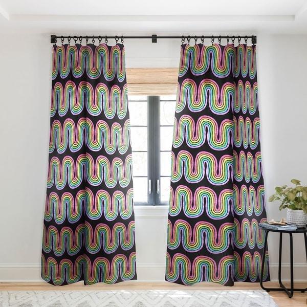 Schatzi Brown Rainbow Wave Black Single Panel Sheer Curtain - 50 x 84. Opens flyout.