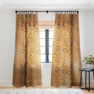 Sharon Turner Bike Wheels Amber Single Panel Sheer Curtain