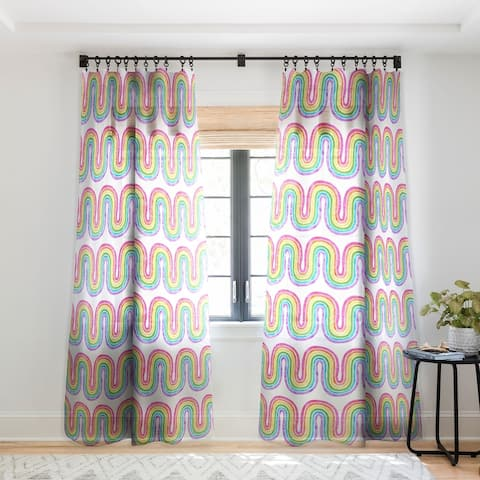 Schatzi Brown Rainbow Wave White Single Panel Sheer Curtain - 50 x 84