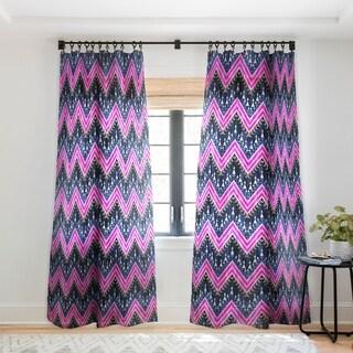 Schatzi Brown Pena Chevron Navy Single Panel Sheer Curtain